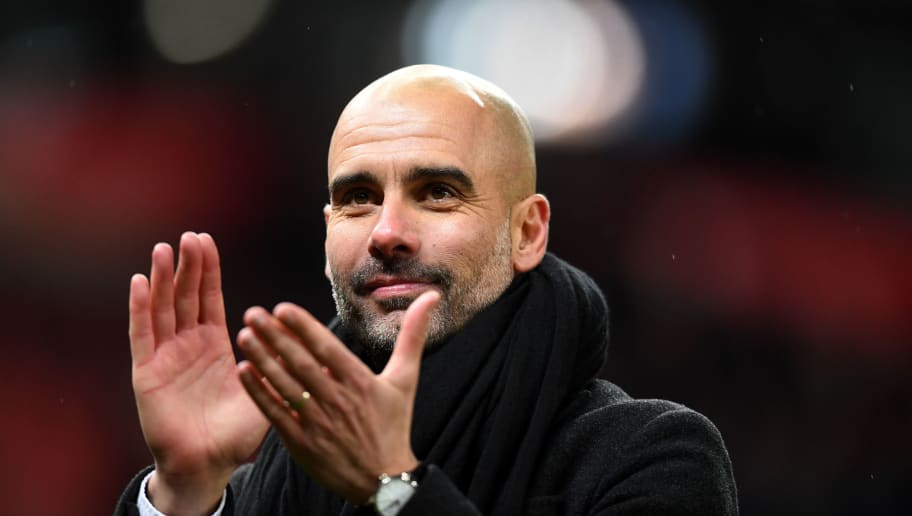 STOKE ON TRENT, ENGLAND - MARCH 12:  Josep Guardiola, Manager of Manchester City salutes the travelling fans after the Premier League match between Stoke City and Manchester City at Bet365 Stadium on March 12, 2018 in Stoke on Trent, England.  (Photo by Michael Regan/Getty Images)