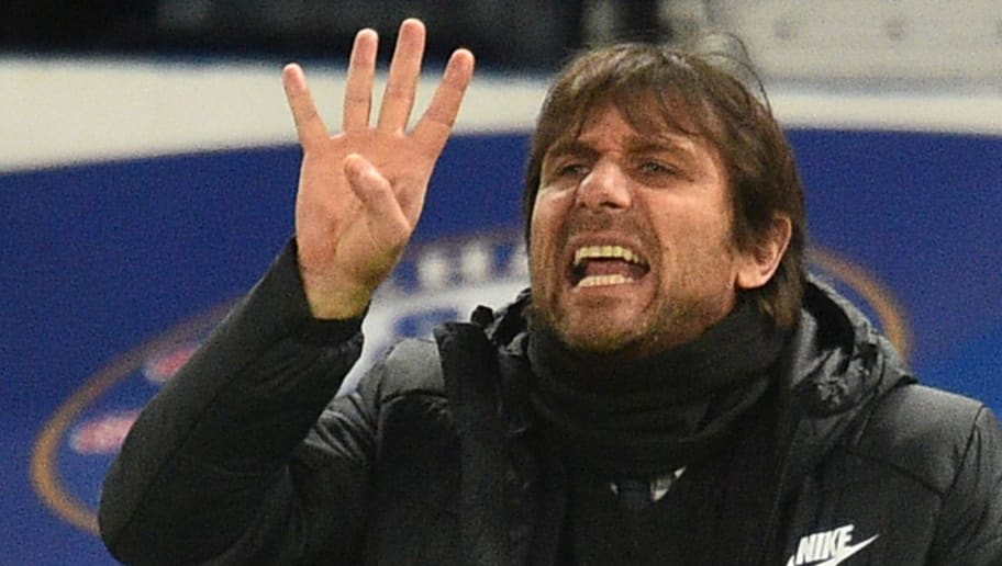 Chelsea's Italian head coach Antonio Conte gestures on the touchline during the English Premier League football match between Chelsea and Crystal Palace at Stamford Bridge in London on March 10, 2018. / AFP PHOTO / Glyn KIRK / RESTRICTED TO EDITORIAL USE. No use with unauthorized audio, video, data, fixture lists, club/league logos or 'live' services. Online in-match use limited to 75 images, no video emulation. No use in betting, games or single club/league/player publications.  /         (Photo credit should read GLYN KIRK/AFP/Getty Images)