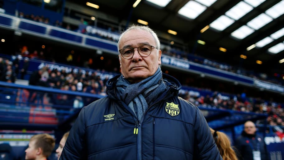 Nantes' Italian head coach Claudio Ranieri looks on ahead of the French L1 football match between Caen (SMC) and Nantes (FCN) on February 4, 2018, at Michel d'Ornano stadium in Caen, northwestern France. / AFP PHOTO / CHARLY TRIBALLEAU        (Photo credit should read CHARLY TRIBALLEAU/AFP/Getty Images)