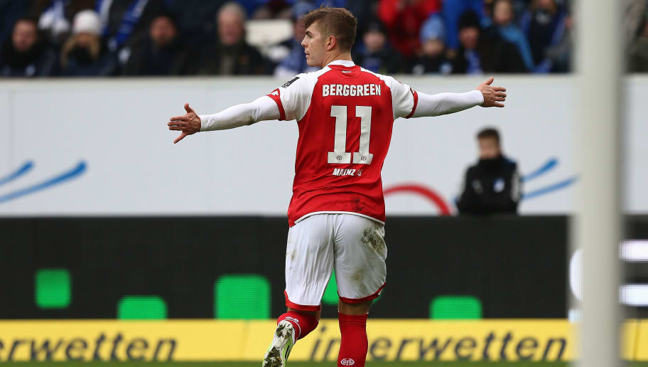 SINSHEIM, GERMANY - FEBRUARY 10:  Emil Berggreen of Mainz celebrates his goal during the Bundesliga match between TSG 1899 Hoffenheim and 1. FSV Mainz 05 at Wirsol Rhein-Neckar-Arena on February 10, 2018 in Sinsheim, Germany.  (Photo by Thomas Niedermueller/Bongarts/Getty Images)