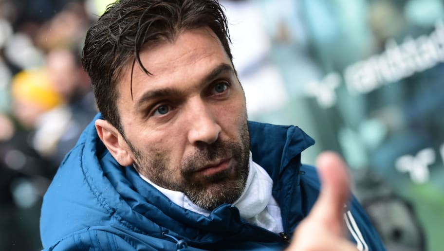 Juventus' Italian goalkeeper Gianluigi Buffon gestures as he arrives for the Italian Serie A football match Juventus vs Udinese on March 11, 2018 at the Juventus stadium in Turin.  / AFP PHOTO / MIGUEL MEDINA        (Photo credit should read MIGUEL MEDINA/AFP/Getty Images)