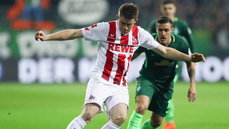 BREMEN, GERMANY - MARCH 12: Dominique Heintz (front) of Koeln is challenged by Max Kruse of Bremen during the Bundesliga match between SV Werder Bremen and 1. FC Koeln at Weserstadion on March 12, 2018 in Bremen, Germany.  (Photo by Lars Baron/Bongarts/Getty Images)