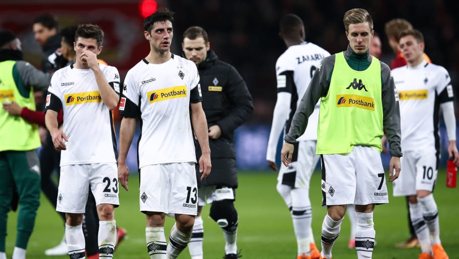 LEVERKUSEN, GERMANY - MARCH 10: Players of Moenchengladbach react after the Bundesliga match between Bayer 04 Leverkusen and Borussia Moenchengladbach at BayArena on March 10, 2018 in Leverkusen, Germany. (Photo by Maja Hitij/Bongarts/Getty Images)