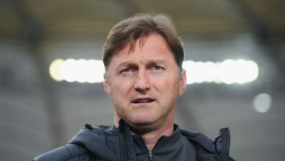 STUTTGART, GERMANY - MARCH 11:  Head coach Ralph Hasenhuettl of Leipzig looks on prior to the Bundesliga match between VfB Stuttgart and RB Leipzig at Mercedes-Benz Arena on March 11, 2018 in Stuttgart, Germany.  (Photo by Matthias Hangst/Bongarts/Getty Images)