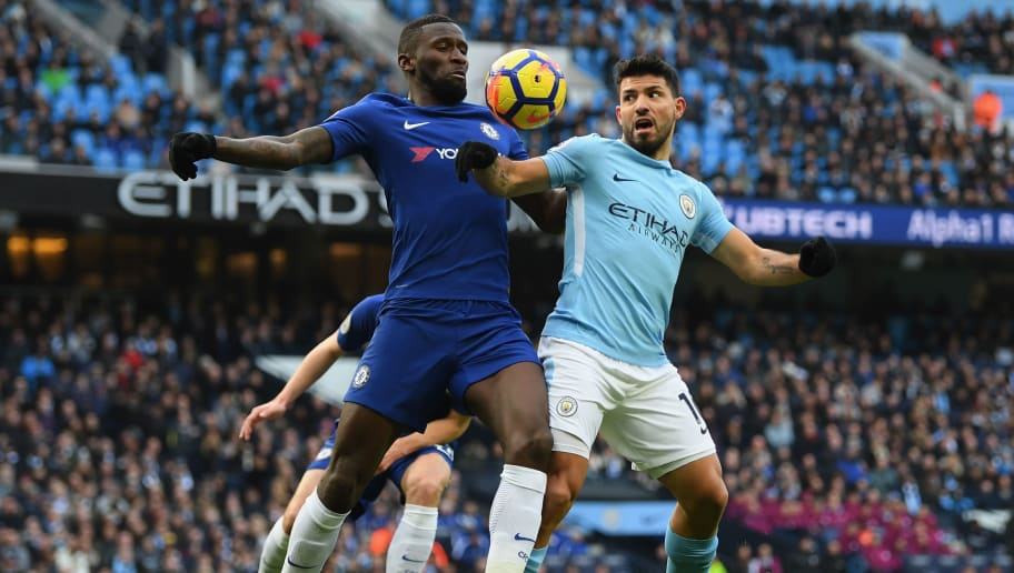 MANCHESTER, ENGLAND - MARCH 04:  Antonio Rudiger of Chelsea and Sergio Aguero of Manchester City battle for the ball during the Premier League match between Manchester City and Chelsea at Etihad Stadium on March 4, 2018 in Manchester, England.  (Photo by Shaun Botterill/Getty Images)