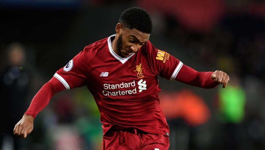 SWANSEA, WALES - JANUARY 22:  Liverpool player Joe Gomez in action  during the Premier League match between Swansea City and Liverpool at Liberty Stadium on January 22, 2018 in Swansea, Wales.  (Photo by Stu Forster/Getty Images)