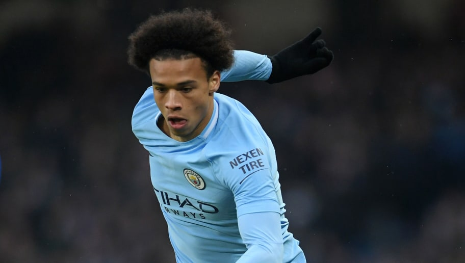 MANCHESTER, ENGLAND - MARCH 04:  Leroy Sane of Manchester City runs with the ball during the Premier League match between Manchester City and Chelsea at Etihad Stadium on March 4, 2018 in Manchester, England.  (Photo by Laurence Griffiths/Getty Images)