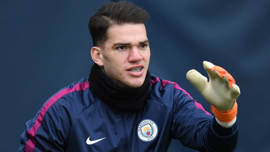 Manchester City's Brazilian goalkeeper Ederson participates in a team training session at the City Football Academy in Manchester, north west England on March 6, 2018, on the eve of their UEFA Champions League round of sixteen second leg football match against FC Basel. / AFP PHOTO / Oli SCARFF        (Photo credit should read OLI SCARFF/AFP/Getty Images)