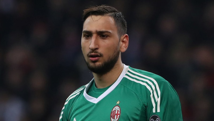 MILAN, ITALY - MARCH 08:  Gianluigi Donnarumma of AC Milan looks on during UEFA Europa League Round of 16 match between AC Milan and Arsenal at the San Siro on March 8, 2018 in Milan, Italy.  (Photo by Marco Luzzani/Getty Images)
