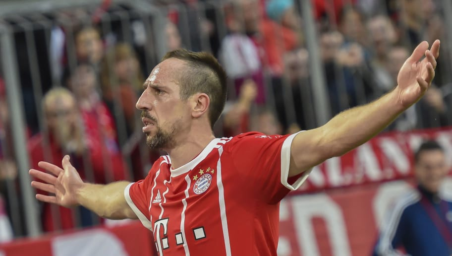 Bayern Munich's French midfielder Franck Ribery celebrates scoring the 5:0 during the German first division Bundesliga football match Bayern Munich vs Hamburger SV in Munich on March 10, 2018.. / AFP PHOTO / Guenter SCHIFFMANN / RESTRICTIONS: DURING MATCH TIME: DFL RULES TO LIMIT THE ONLINE USAGE TO 15 PICTURES PER MATCH AND FORBID IMAGE SEQUENCES TO SIMULATE VIDEO. == RESTRICTED TO EDITORIAL USE == FOR FURTHER QUERIES PLEASE CONTACT DFL DIRECTLY AT + 49 69 650050         (Photo credit should read GUENTER SCHIFFMANN/AFP/Getty Images)