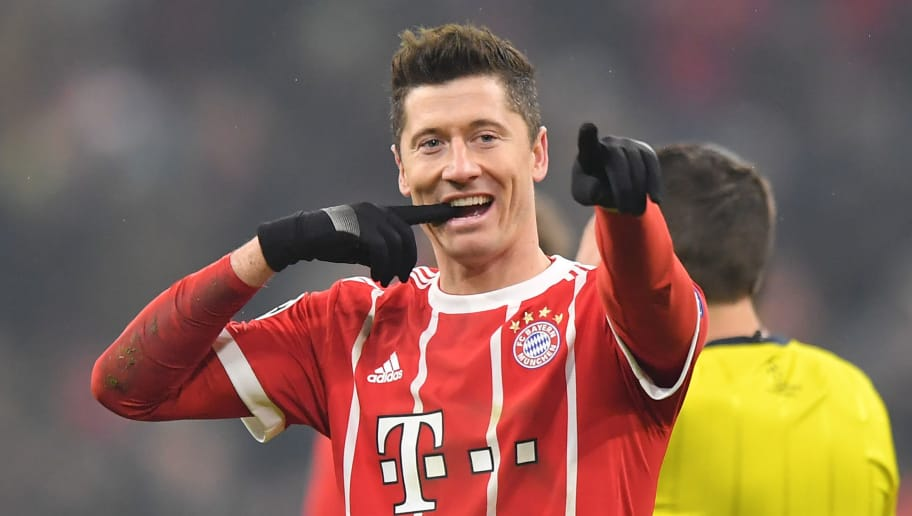 MUNICH, GERMANY - FEBRUARY 20: Robert Lewandowski of Bayern Muenchen celebrates after scoring his teams fifth goal during the UEFA Champions League Round of 16 First Leg match between Bayern Muenchen and Besiktas at Allianz Arena on February 20, 2018 in Munich, Germany. (Photo by Sebastian Widmann/Bongarts/Getty Images)