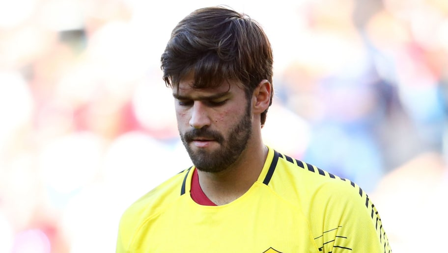 FOXBORO, MA - JULY 30: Alisson Becker reacts during the second half against Juventus during the International Champions Cup 2017 match at Gillette Stadium on July 30, 2017 in Foxboro, Massachusetts. (Photo by Maddie Meyer/Getty Images)