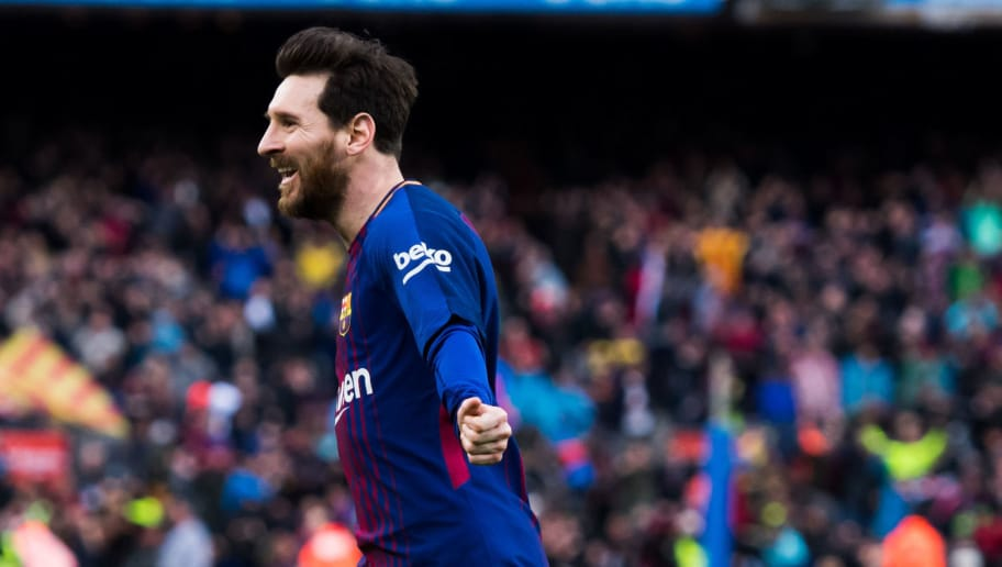BARCELONA, SPAIN - MARCH 04:  Lionel Messi of FC Barcelona celebrates after scoring the opening goal during the La Liga match between Barcelona and Atletico Madrid at Camp Nou on March 4, 2018 in Barcelona, Spain.  (Photo by Alex Caparros/Getty Images)