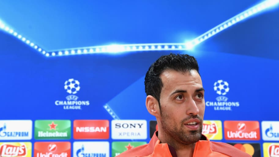 BARCELONA, SPAIN - MARCH 13:  Sergio Busquets of Barcelona speaks during a Barcelona press conference ahead of their UEFA Champions League Round of 16 match against Chelsea at Nou Camp on March 13, 2018 in Barcelona, Spain.  (Photo by David Ramos/Getty Images)
