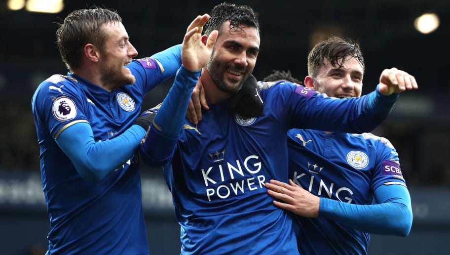 WEST BROMWICH, ENGLAND - MARCH 10: Vicente Iborra of Leicester City celebrates after scoring his sides fourth goal with Jamie Vardy of Leicester City and Ben Chilwell of Leicester City during the Premier League match between West Bromwich Albion and Leicester City at The Hawthorns on March 10, 2018 in West Bromwich, England.  (Photo by Clive Mason/Getty Images)