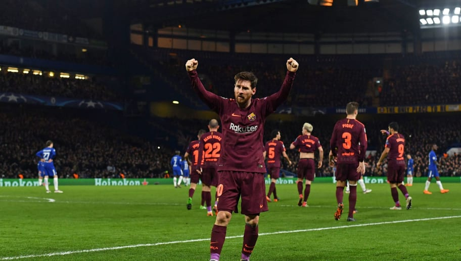 Barcelona's Argentinian striker Lionel Messi celebrates after scoring their first goal during the first leg of the UEFA Champions League round of 16 football match between Chelsea and Barcelona at Stamford Bridge stadium in London on February 20, 2018. / AFP PHOTO / Ben STANSALL        (Photo credit should read BEN STANSALL/AFP/Getty Images)