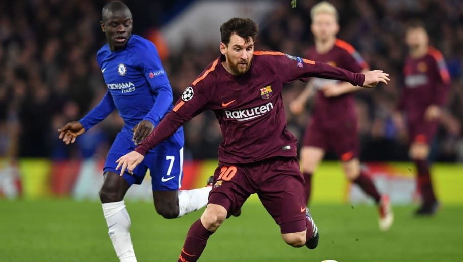 Chelsea's French midfielder N'Golo Kante (L) vies with Barcelona's Argentinian striker Lionel Messi during the first leg of the UEFA Champions League round of 16 football match between Chelsea and Barcelona at Stamford Bridge stadium in London on February 20, 2018. / AFP PHOTO / Ben STANSALL        (Photo credit should read BEN STANSALL/AFP/Getty Images)