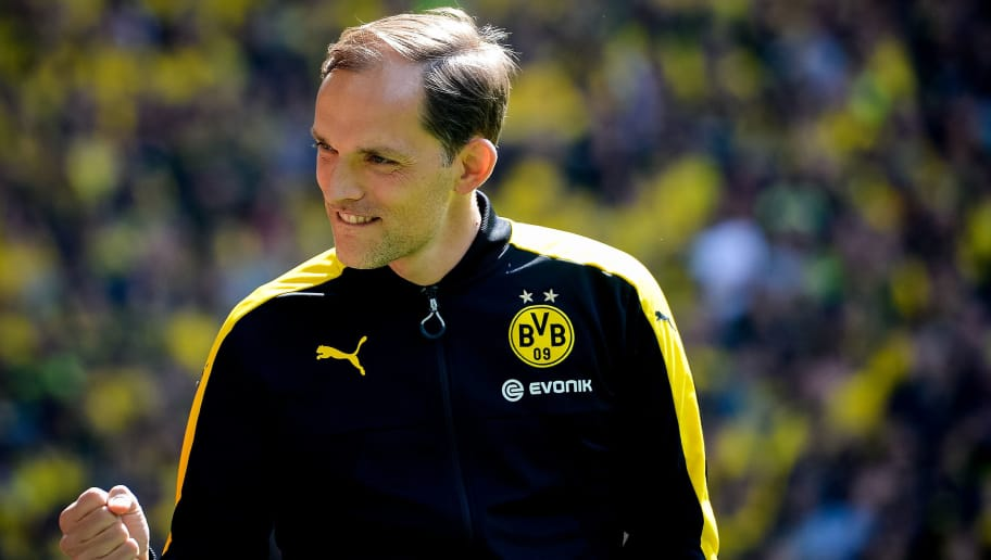 Dortmund's head coach Thomas Tuchel reacts prior the German First division Bundesliga football match between Borussia Dortmund and Werder Bremen, in Dortmund, western Germany, on May 20, 2017.  / AFP PHOTO / SASCHA SCHUERMANN / RESTRICTIONS: DURING MATCH TIME: DFL RULES TO LIMIT THE ONLINE USAGE TO 15 PICTURES PER MATCH AND FORBID IMAGE SEQUENCES TO SIMULATE VIDEO. == RESTRICTED TO EDITORIAL USE == FOR FURTHER QUERIES PLEASE CONTACT DFL DIRECTLY AT + 49 69 650050         (Photo credit should read SASCHA SCHUERMANN/AFP/Getty Images)
