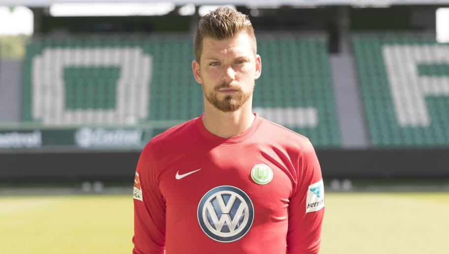 WOLFSBURG, GERMANY - SEPTEMBER 14: Max Gruen poses during the official team presentation of VfL Wolfsburg at Volkswagen Arena on September 14, 2016 in Wolfsburg, Germany. (Photo by Joachim Sielski/Bongarts/Getty Images)