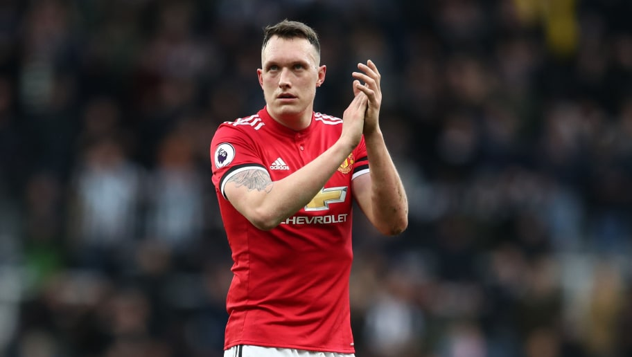 NEWCASTLE UPON TYNE, ENGLAND - FEBRUARY 11: Phil Jones of Manchester United during the Premier League match between Newcastle United and Manchester United at St. James Park on February 11, 2018 in Newcastle upon Tyne, England. (Photo by Catherine Ivill/Getty Images)