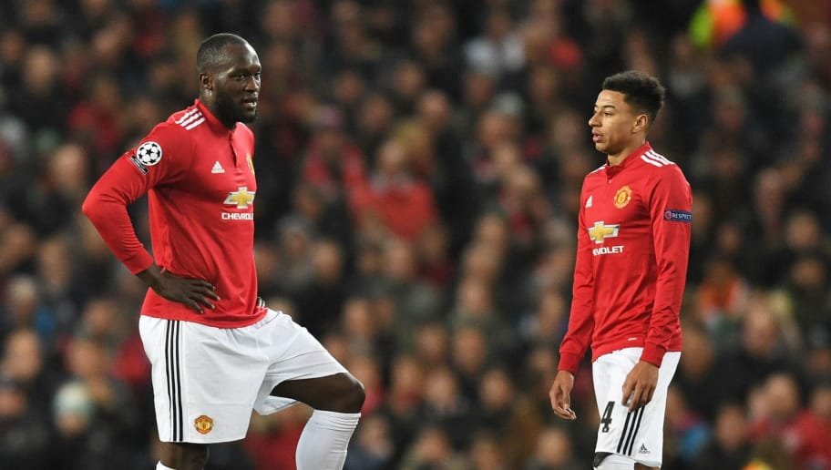 MANCHESTER, ENGLAND - MARCH 13:  Romelu Lukaku and Jesse Lingard of Manchester United look dejected during the UEFA Champions League Round of 16 Second Leg match between Manchester United and Sevilla FC at Old Trafford on March 13, 2018 in Manchester, United Kingdom.  (Photo by Michael Regan/Getty Images)