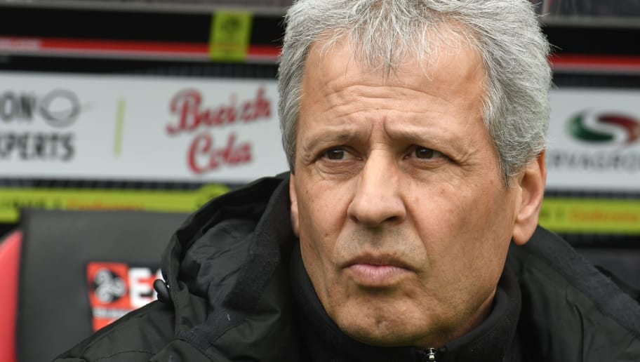 Nice's French coach Lucien Favre attends the French L1 football match Guingamp against Nice on March 11, 2018 at the Roudourou stadium in Guingamp, western France.  / AFP PHOTO / FRED TANNEAU        (Photo credit should read FRED TANNEAU/AFP/Getty Images)