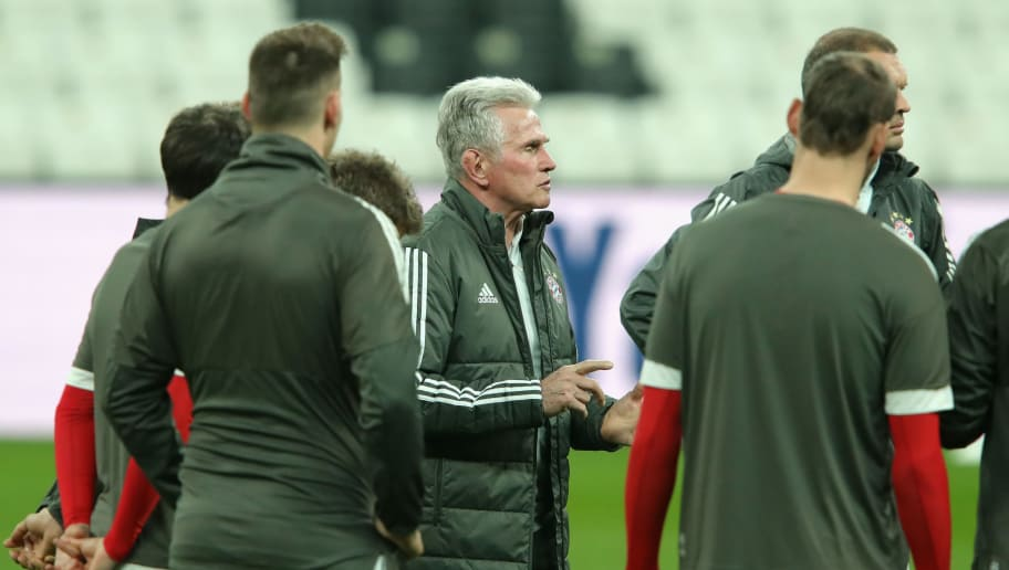 ISTANBUL, TURKEY - MARCH 13:  Jupp Heynckes manager of Beyern Muenchen speaks with his players during a Bayern Muenchen training session ahead of their UEFA Champions League round of 16 match against Besiktas at Vodafone Park on March 13, 2018 in Istanbul, Turkey.  (Photo by Alexander Hassenstein/Bongarts/Getty Images)