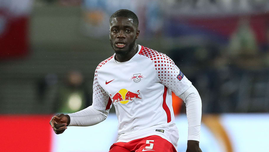 LEIPZIG, GERMANY - MARCH 08: Dayot Upamecano of RB Leipzig runs with the ball during the UEFA Europa League Round of 16 match between RB Leipzig and Zenit St Petersburg at the Red Bull Arena on March 8, 2018 in Leipzig, Germany. (Photo by Ronny Hartmann/Bongarts/Getty Images)