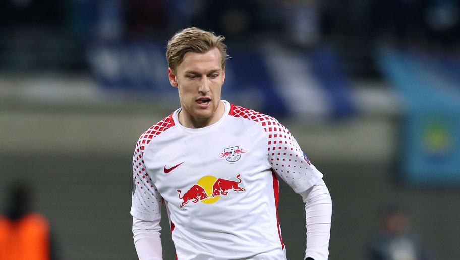 LEIPZIG, GERMANY - MARCH 08: Emil Forsberg of RB Leipzig passes the ball during the UEFA Europa League Round of 16 match between RB Leipzig and Zenit St Petersburg at the Red Bull Arena on March 8, 2018 in Leipzig, Germany. (Photo by Ronny Hartmann/Bongarts/Getty Images)
