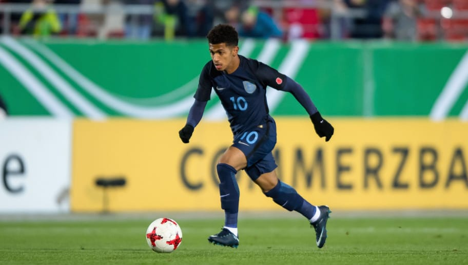 ZWICKAU, GERMANY - NOVEMBER 14:  Marcus Edwards of England plays the ball during the Under 20 International Friendly match between U20 of Germany and U20 of England at Stadion Zwickau on November 14, 2017 in Zwickau, Germany.  (Photo by Thomas Eisenhuth/Bongarts/Getty Images)