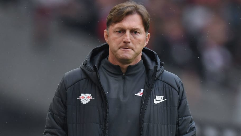 STUTTGART, GERMANY - MARCH 11: Head coach Ralph Hasenhuettl of Leipzig reacts during the Bundesliga match between VfB Stuttgart and RB Leipzig at Mercedes-Benz Arena on March 11, 2018 in Stuttgart, Germany.  (Photo by Matthias Hangst/Bongarts/Getty Images)