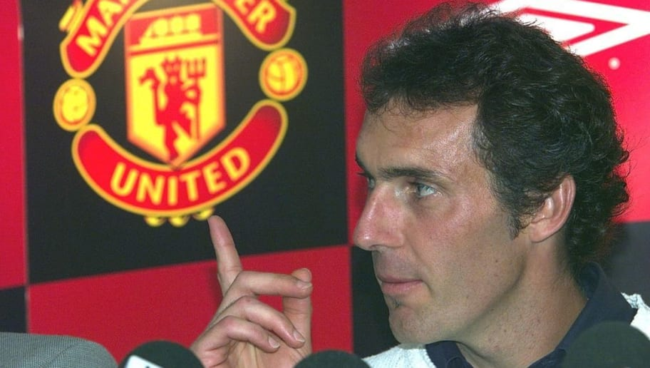 30 Aug 2001:  Laurent Blanc is unveiled as Manchester United's new signing at a press conference at Old Trafford, Manchester. DIGITAL IMAGE. Mandatory Credit: Gary M. Prior/ALLSPORT