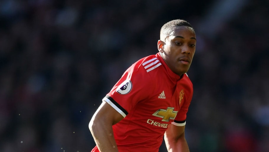 MANCHESTER, ENGLAND - FEBRUARY 25:  Anthony Martial of Manchester United runs with the ball during the Premier League match between Manchester United and Chelsea at Old Trafford on February 25, 2018 in Manchester, England.  (Photo by Laurence Griffiths/Getty Images)