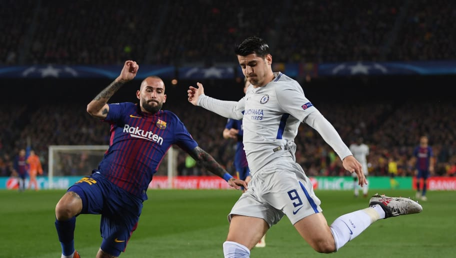 BARCELONA, SPAIN - MARCH 14:  Alvaro Morata of Chelsea is faced by Aleix Vidal of Barcelona during the UEFA Champions League Round of 16 Second Leg match FC Barcelona and Chelsea FC at Camp Nou on March 14, 2018 in Barcelona, Spain.  (Photo by Shaun Botterill/Getty Images)