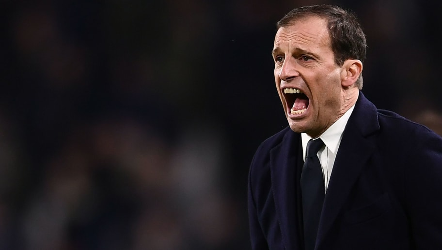 Juventus' Italian coach Massimiliano Allegri shouts during the Italian Serie A football match between Juventus and Atalanta on March 14, 2018 at the Allianz Stadium in Turin. / AFP PHOTO / MARCO BERTORELLO        (Photo credit should read MARCO BERTORELLO/AFP/Getty Images)