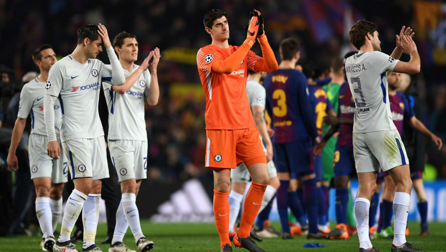 BARCELONA, SPAIN - MARCH 14: Thibaut Courtois of Chelsea shows appreciation to the fans after the UEFA Champions League Round of 16 Second Leg match FC Barcelona and Chelsea FC at Camp Nou on March 14, 2018 in Barcelona, Spain.  (Photo by Shaun Botterill/Getty Images)