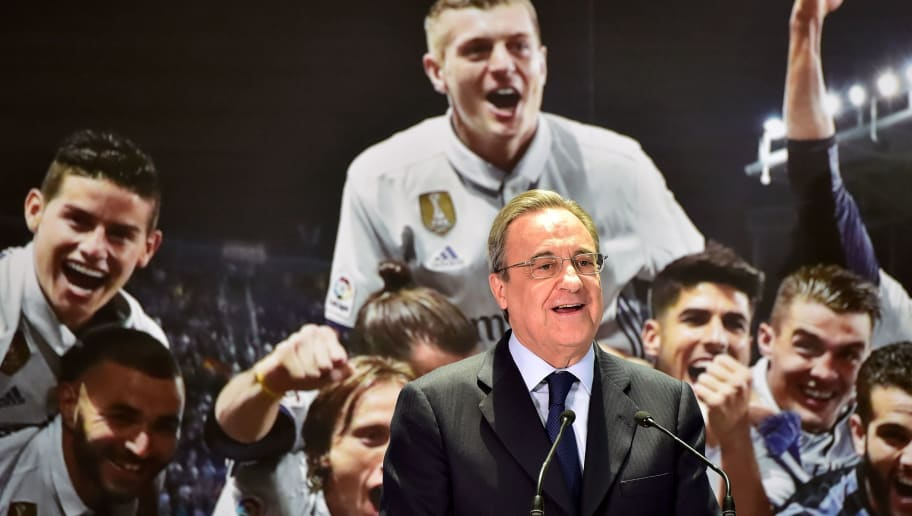 Real Madrid President Florentino Perez delivers a speech at the Madrid Town hall on Plaza Cibeles in Madrid on May 22, 2017 during a celeration after the team won the Spanish league football tournament. Madrid sealed a first La Liga title in five years yesterday -- and 33rd in total -- with a 2-0 victory at Malaga to bring a halt to Barcelona's domination of domestic matters having won six of the previous eight titles.   / AFP PHOTO / GERARD JULIEN        (Photo credit should read GERARD JULIEN/AFP/Getty Images)