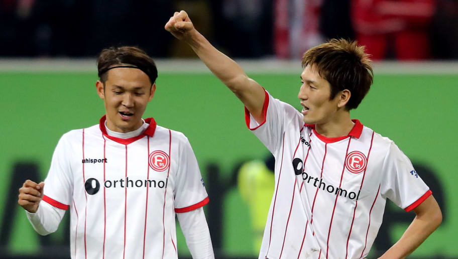 DUESSELDORF, GERMANY - JANUARY 24: (L-R) Takashi Usami and Genki Haraguchi of Duesseldorf celebrate after the Second Bundesliga match between Fortuna Duesseldorf and FC Erzgebirge Aue at Esprit-Arena on January 24, 2018 in Duesseldorf, Germany. The match between Duesseldorf and Aue ended 2-1. (Photo by Christof Koepsel/Bongarts/Getty Images)