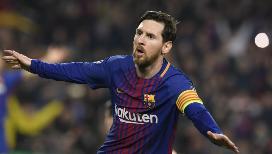 Barcelona's Argentinian forward Lionel Messi celebrates scoring his team's third goal during the UEFA Champions League round of sixteen second leg  football match between FC Barcelona and Chelsea FC at the Camp Nou stadium in Barcelona on March 14, 2018. / AFP PHOTO / LLUIS GENE        (Photo credit should read LLUIS GENE/AFP/Getty Images)