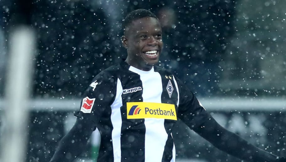 MOENCHENGLADBACH, GERMANY - MARCH 02: Denis Zakaria of Moenchengladbach celebrates the first goal during the Bundesliga match between Borussia Moenchengladbach and SV Werder Bremen at Borussia-Park on March 2, 2018 in Moenchengladbach, Germany. (Photo by Christof Koepsel/Bongarts/Getty Images)