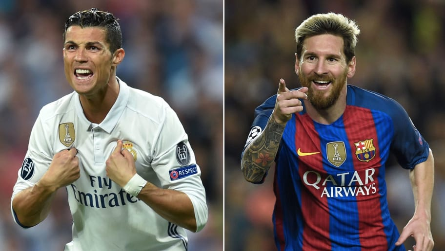A combination of images shows (L-R) Real Madrid's Portuguese forward Cristiano Ronaldo and Barcelona's Argentinian forward Lionel Messi. Cristiano Ronaldo looks set to match his great rival Lionel Messi on December 07, 2017 by claiming a fifth Ballon d'Or as recognition for leading Real Madrid to a La Liga and Champions League double last season. / AFP PHOTO / Lluis GENE        (Photo credit should read LLUIS GENE/AFP/Getty Images)