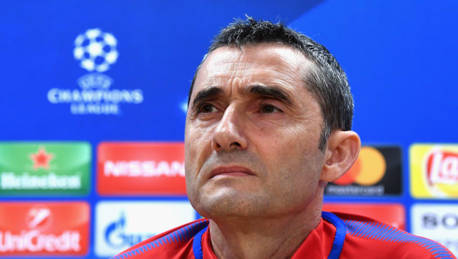 BARCELONA, SPAIN - MARCH 13:  Manager of Barcelona, Ernesto Valverde during a Barcelona during a Barcelona press conference ahead of their UEFA Champions League Round of 16 match against Chelsea at Nou Camp on March 13, 2018 in Barcelona, Spain.  (Photo by David Ramos/Getty Images)
