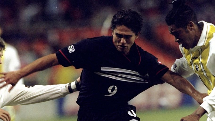 21 Oct 1998: Jaime Moreno #9 of the DC United in action during an MLS Playoff game against the Columbus Crew at the RFK Stadium in Washington D.C.. The United defeated the Crew 3-0.