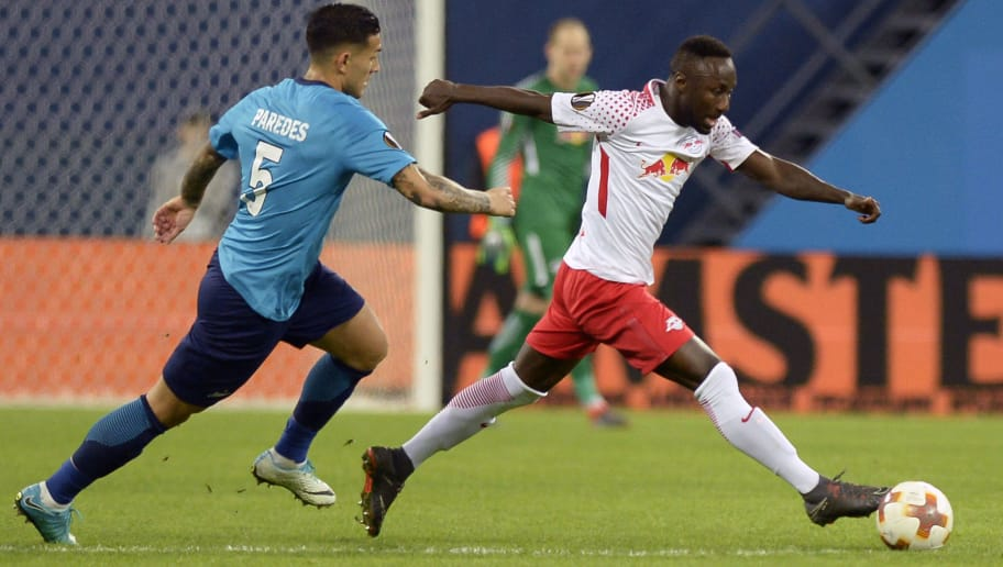Zenit St. Petersburg's midfielder from Argentina Leandro Paredes (L) and Leipzig's Guinean midfielder Naby Keita vie for the ball during the UEFA Europa League Round of 16 second leg football match between FC Zenit and RB Leipzig on March 15, 2018 in Saint Petersburg. / AFP PHOTO / Olga MALTSEVA        (Photo credit should read OLGA MALTSEVA/AFP/Getty Images)