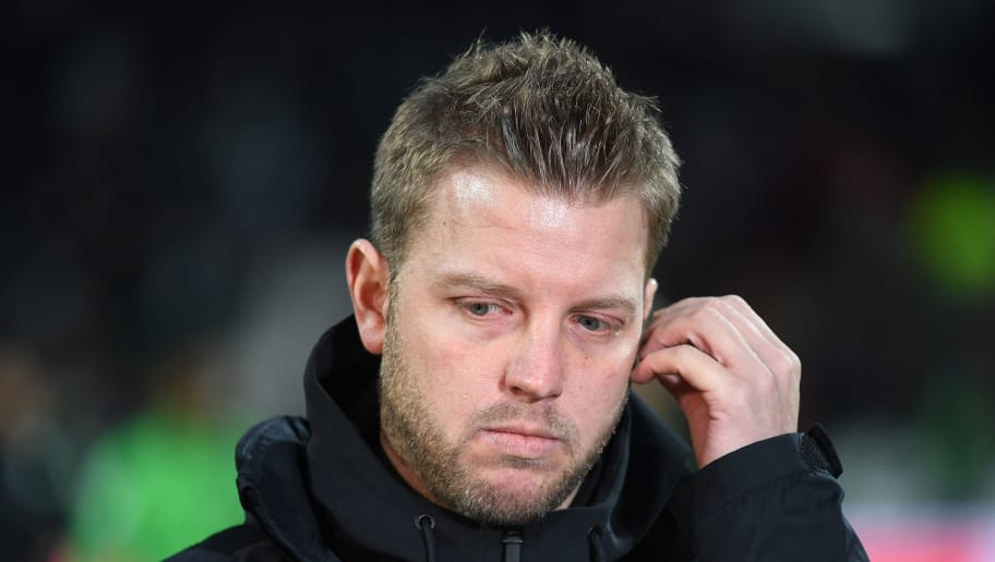 BREMEN, GERMANY - FEBRUARY 11:  Florian Kohfeldt, head coach of Bremen looks on during the Bundesliga match between SV Werder Bremen and VfL Wolfsburg at Weserstadion on February 11, 2018 in Bremen, Germany.  (Photo by Stuart Franklin/Bongarts/Getty Images)