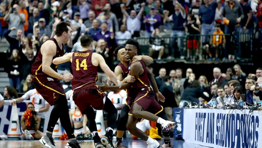 DALLAS, TX - MARCH 15:  Donte Ingram #0 and Marques Townes #5 of the Loyola Ramblers celebrate after Ingram makes a game-winning three pointer against the Miami Hurricanes in the first round of the 2018 NCAA Men's Basketball Tournament at American Airlines Center on March 15, 2018 in Dallas, Texas.  (Photo by Ronald Martinez/Getty Images)