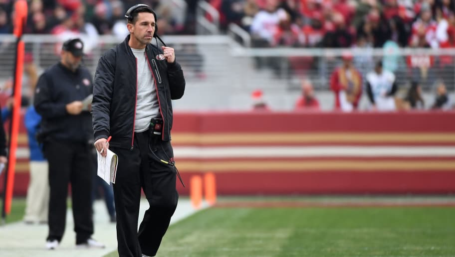SANTA CLARA, CA - DECEMBER 24:  Head coach Kyle Shanahan of the San Francisco 49ers looks on against the Jacksonville Jaguars during their NFL game at Levi's Stadium on December 24, 2017 in Santa Clara, California.  (Photo by Robert Reiners/Getty Images)