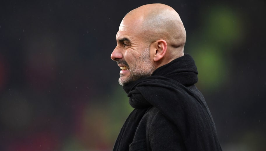 STOKE ON TRENT, ENGLAND - MARCH 12:  Josep Guardiola, Manager of Manchester City reacts during the Premier League match between Stoke City and Manchester City at Bet365 Stadium on March 12, 2018 in Stoke on Trent, England.  (Photo by Gareth Copley/Getty Images)