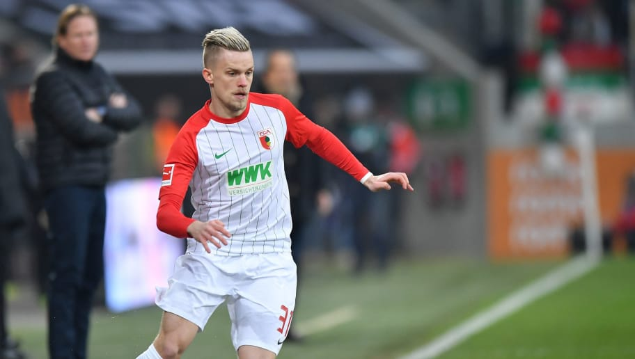 AUGSBURG, GERMANY - JANUARY 13: Philipp Max of Augsburg plays the ball during the Bundesliga match between FC Augsburg and Hamburger SV at WWK-Arena on January 13, 2018 in Augsburg, Germany. (Photo by Sebastian Widmann/Bongarts/Getty Images)