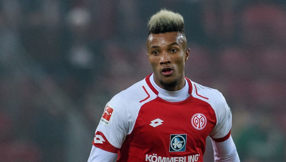 MAINZ, GERMANY - DECEMBER 02: Jean-Philippe Gbamin of Mainz in action with the ball during the Bundesliga match between 1. FSV Mainz 05 and FC Augsburg at Opel Arena on December 2, 2017 in Mainz, Germany. (Photo by Alexander Scheuber/Bongarts/Getty Images)